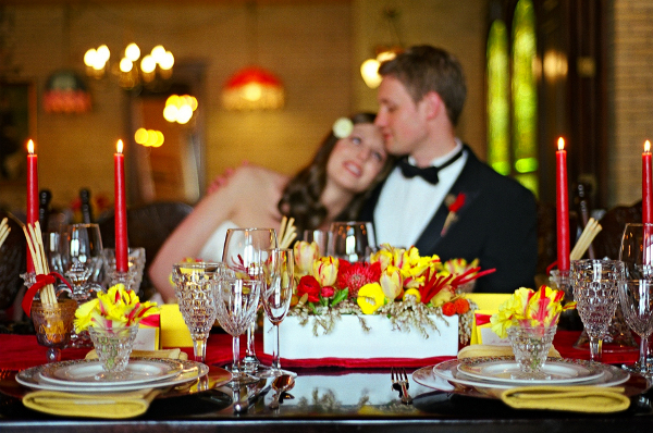 red yellow wedding centerpiece Poppy Red and Marigold Vintage Glam Wedding Theme