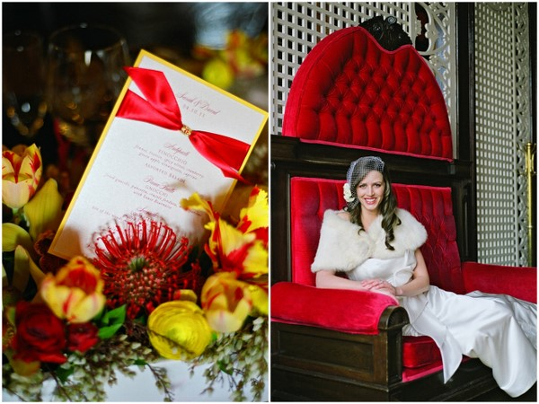 red yellow wedding colors Poppy Red and Marigold Vintage Glam Wedding Theme
