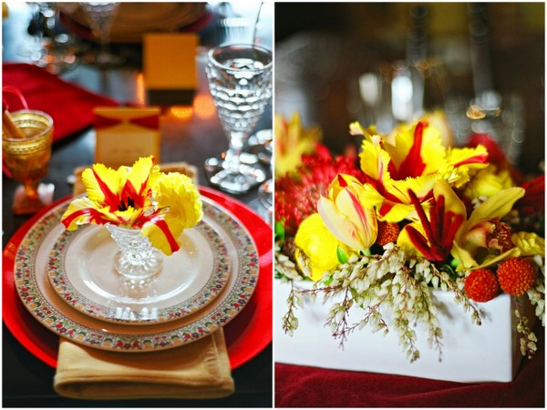red yellow wedding ideas Poppy Red and Marigold Vintage Glam Wedding Theme