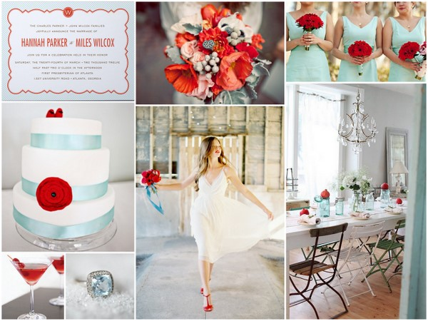 Seafoam Red Wedding Inspiration Board