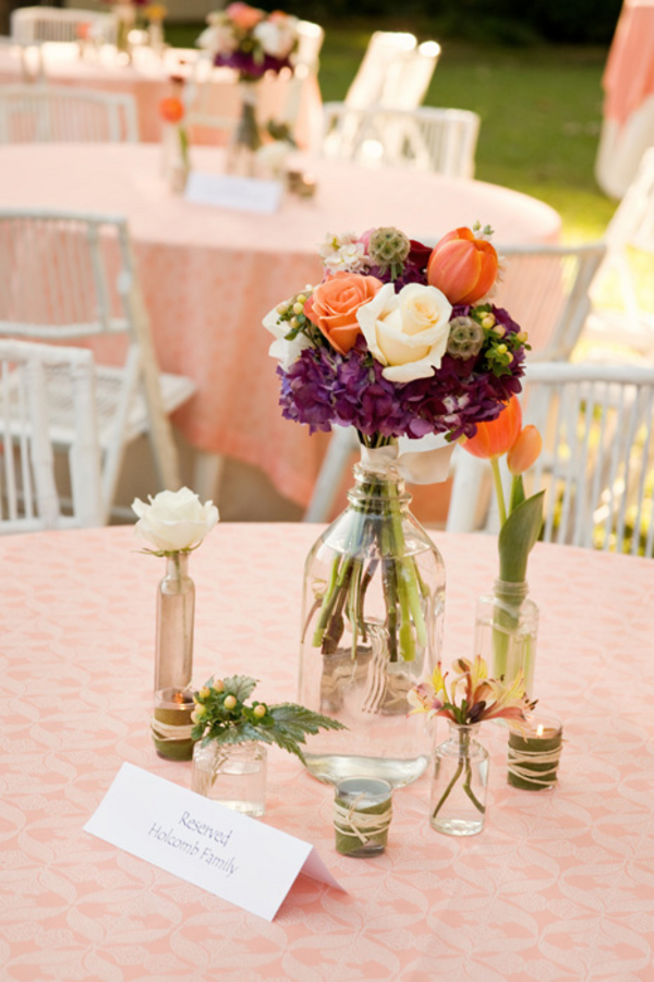 Simple Outdoor Wedding Centrepiece