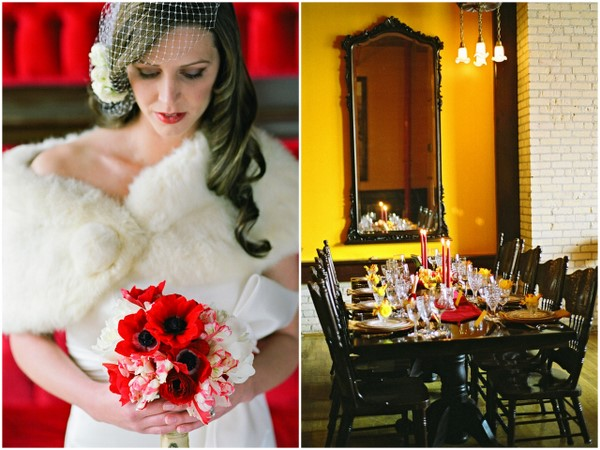 vintage glam bride Poppy Red and Marigold Vintage Glam Wedding Theme