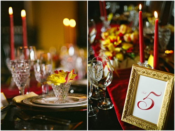 vintage wedding table decorations Poppy Red and Marigold Vintage Glam Wedding Theme