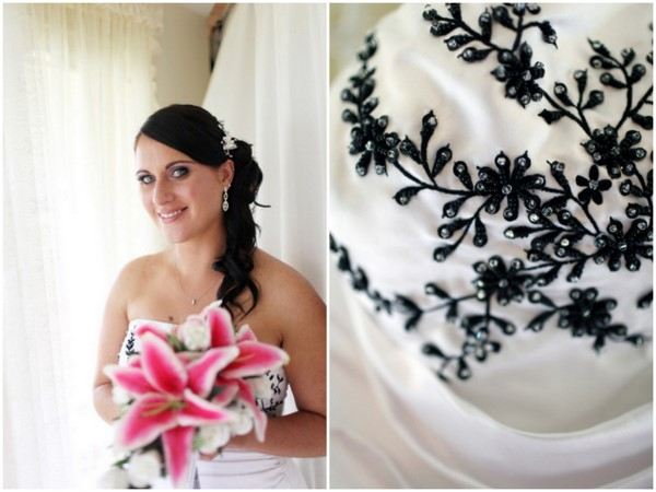 Wedding Dress with Black and White details