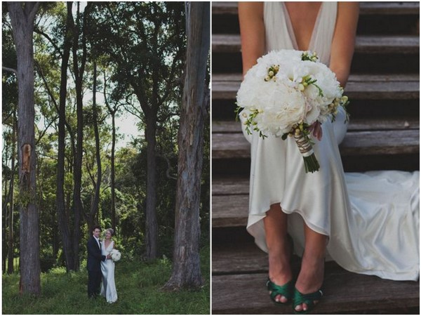 White Bouquet & Green Wedding Shoes