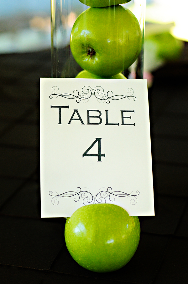 Apple Themed Table Numbers