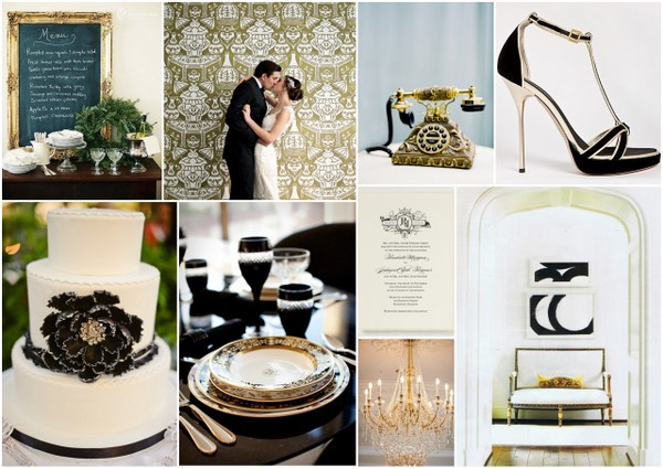 black white gold wedding colors Black, White and Gold Wedding Colors