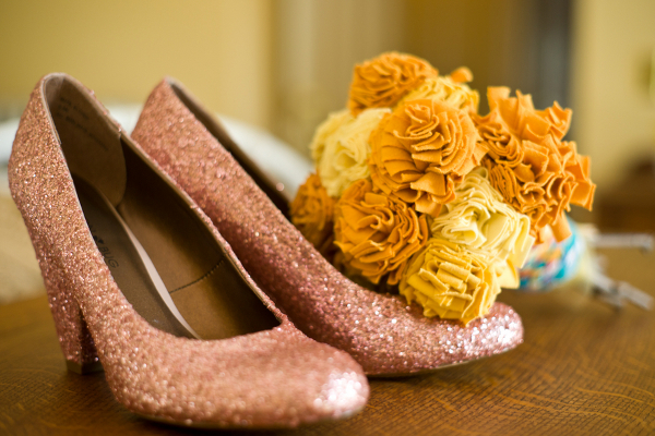 diy sparkle wedding shoes Homemade Garden Wedding in Newark New York