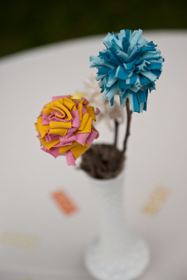 Handmade Fabric Flower Centerpiece