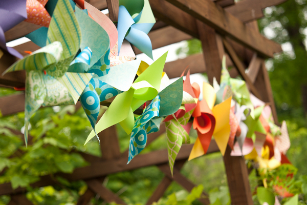 handmade pinwheel ceremony arbor Homemade Garden Wedding in Newark New York