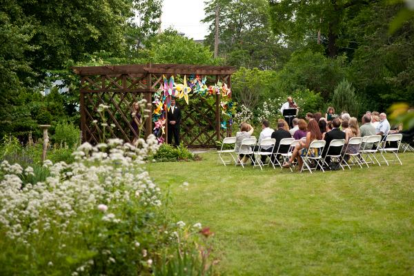 handmade wedding ceremony Homemade Garden Wedding in Newark New York