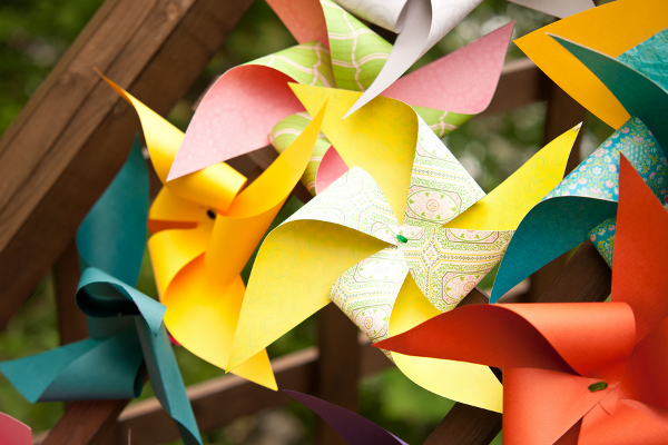 handmade wedding pinwheels Homemade Garden Wedding in Newark New York