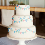 {Cake Inspiration} White Wedding Cake with Fondant Bunting