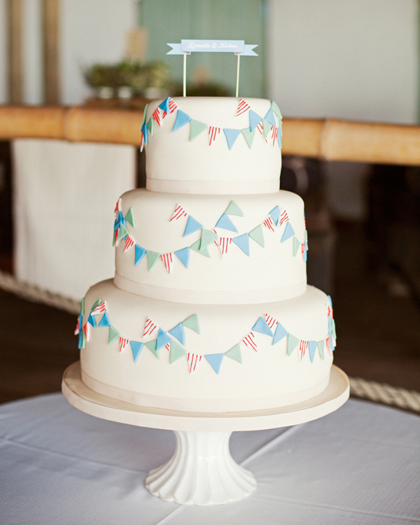 White Wedding Cake with Bunting Fondant