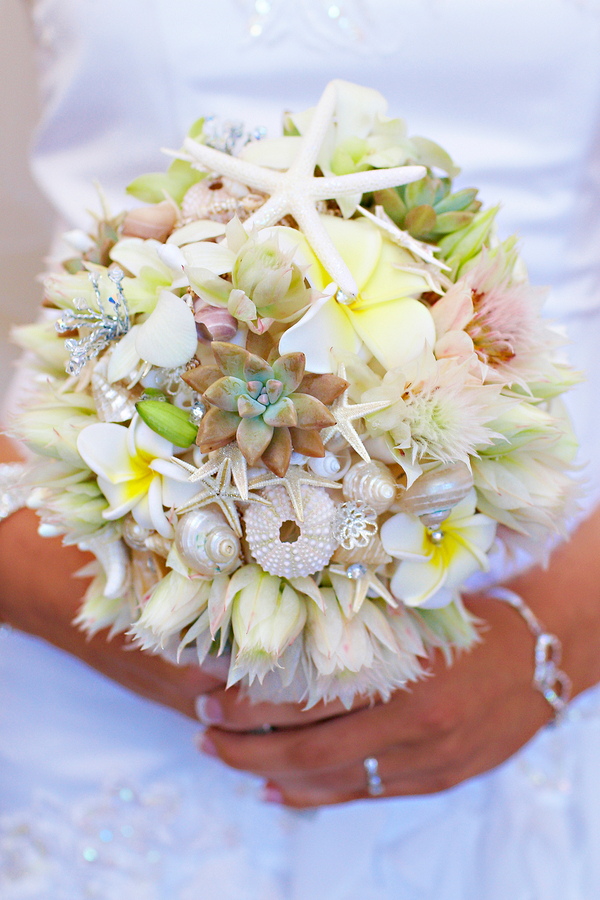 beach wedding bouquet with shells Barefoot Casual Beach Wedding in Forster NSW by Bella Photo Art