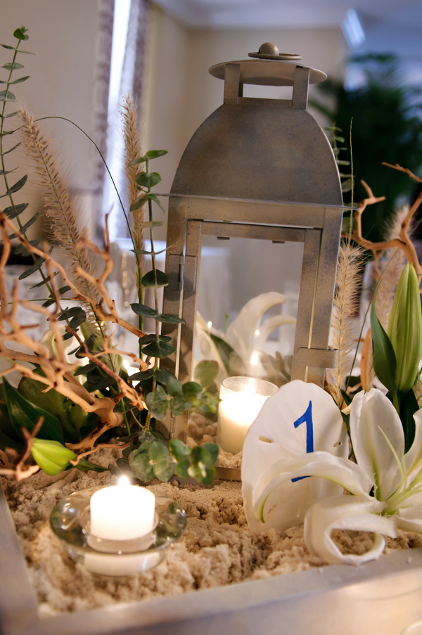 Beach Wedding Lantern & Sand Centerpiece
