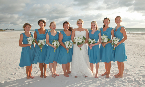 Blue Bridesmaids Beach Wedding
