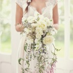 Cascading Bridal Bouquet White Roses