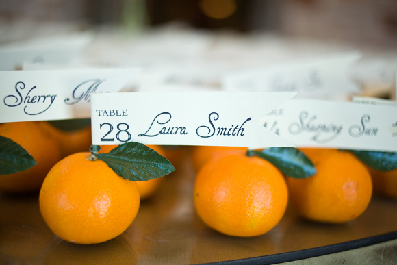 diy wedding citrus escort cards DIY Texas Wedding by Kimberly Chau Photography