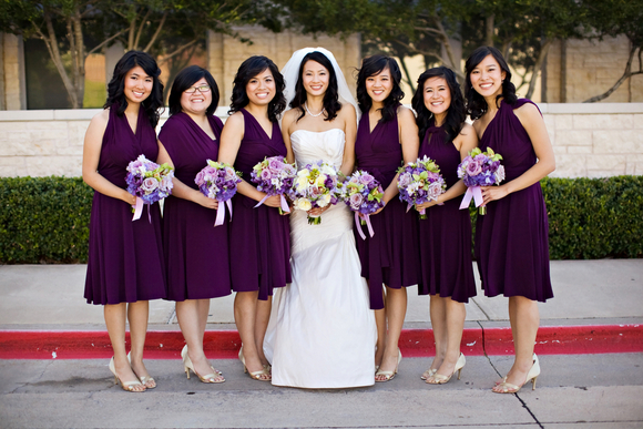 diy wedding purple bridesmaids DIY Texas Wedding by Kimberly Chau Photography