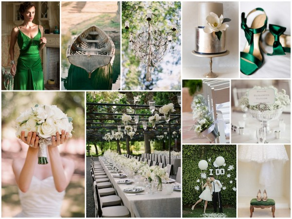 green white silver wedding theme {Inspiration Board} Green, White & Silver Wedding Theme