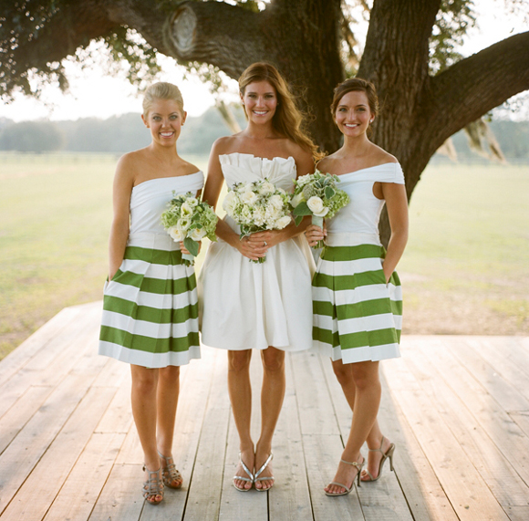 Green and White Striped Bridesmaid Dresses