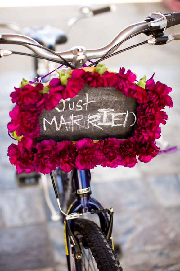 Just Married Cute Bicycle Sign