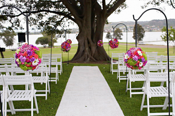 Pink Purple Flowers Aisle Decor Love Wed Bliss