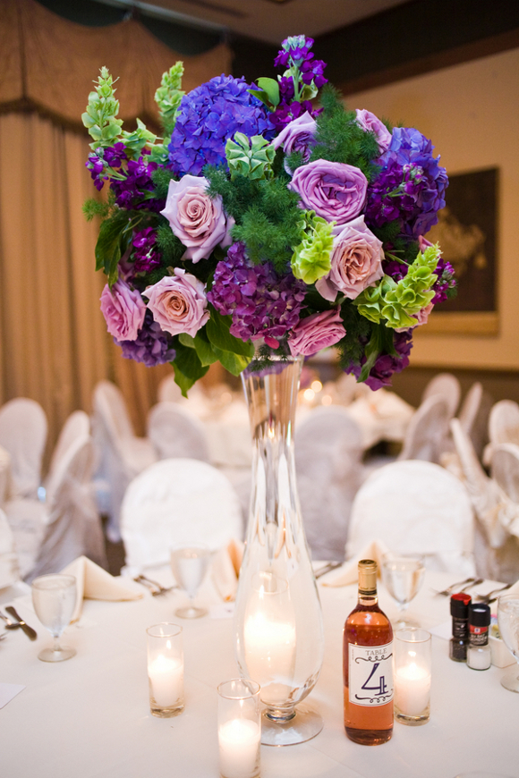purple wedding tall centerpiece DIY Texas Wedding by Kimberly Chau Photography