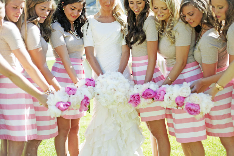 Pink & White Striped Bridesmaids Dresses