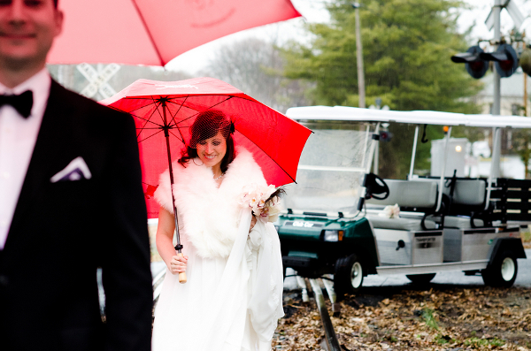 Vintage Winter Wedding Red Umbrellas