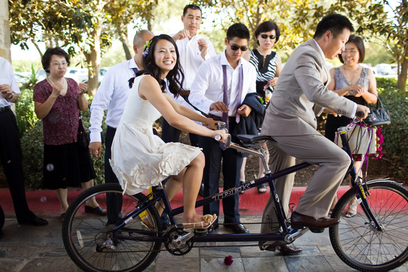 wedding tandem bike DIY Texas Wedding by Kimberly Chau Photography
