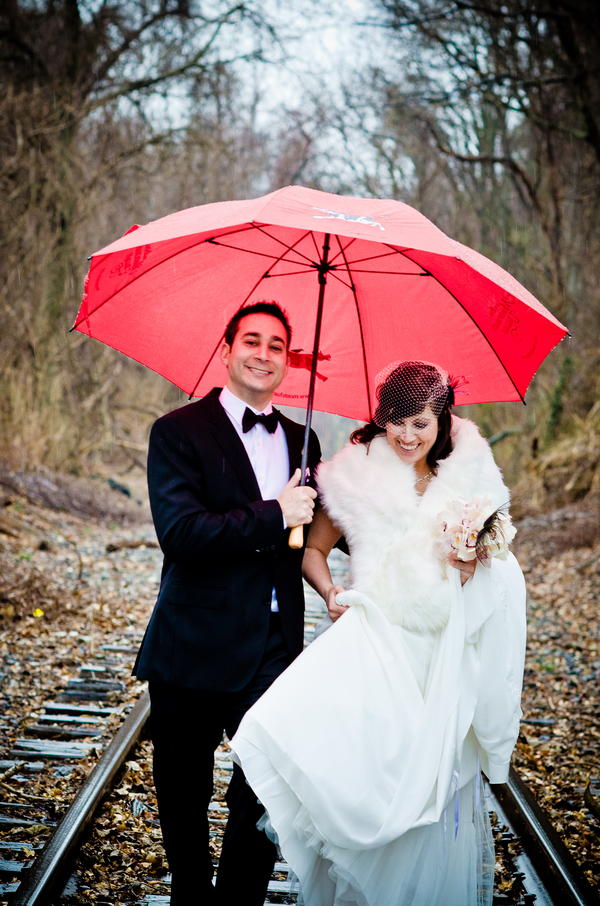Winter Wedding Red Umbrella