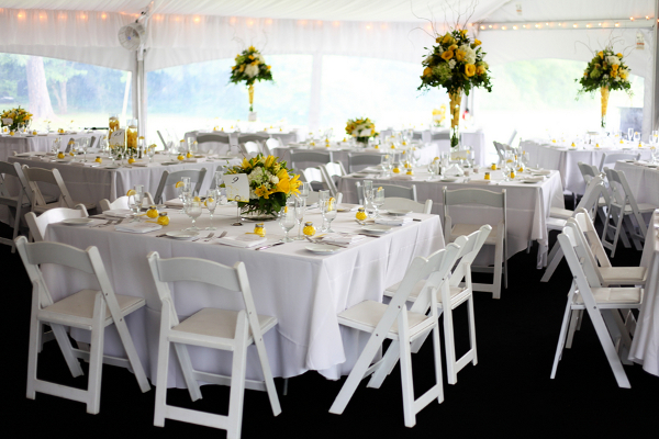 Yellow and white outdoor summer wedding by kamila harris photography white yellow summer wedding centerpieces junglespirit Gallery