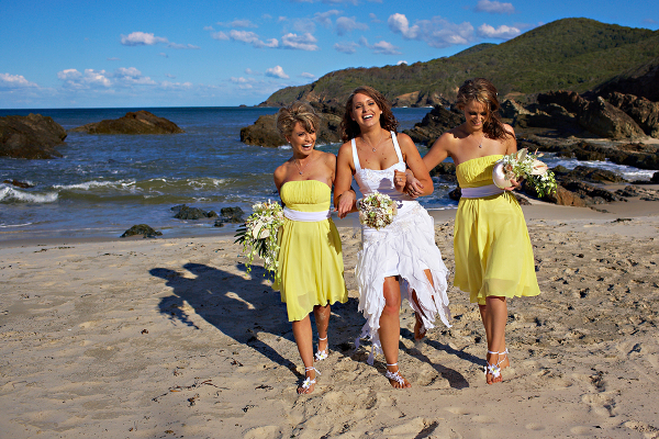 Yellow and White Beach Wedding