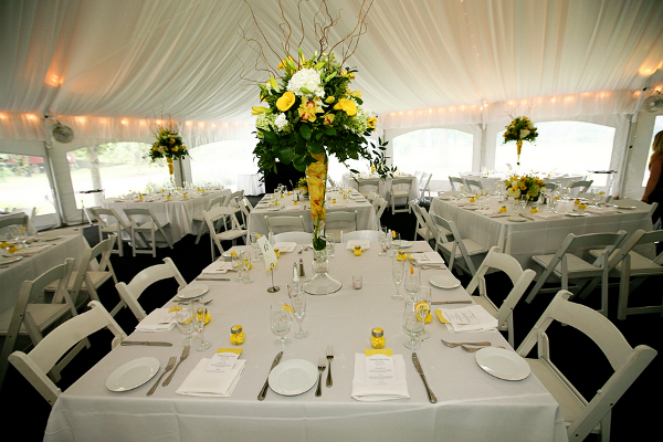 Yellow and White Wedding Tables