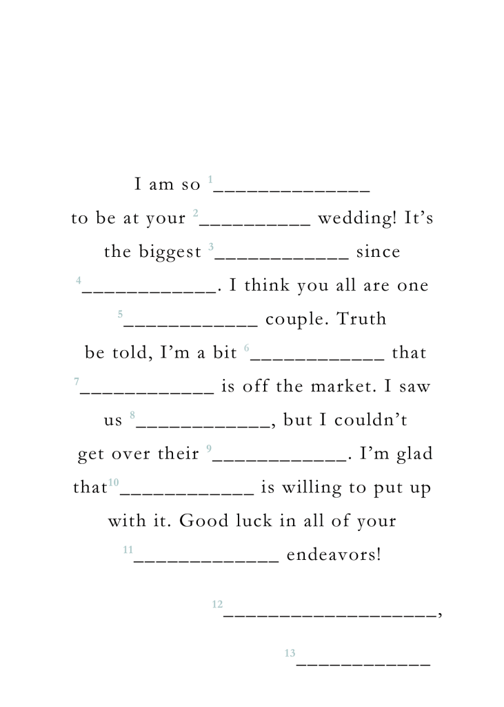 image regarding Bridal Shower Mad Libs Printable known as Totally free Printables: Lovely Artistic Wedding ceremony Visitor Libs