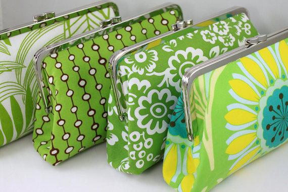 Apple Green, Yellow & White Clutch Set