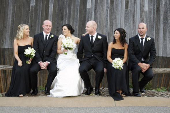 Black and Ivory Bridal Party