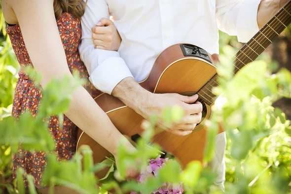 guitar styled engagement shoot Picnic Style Engagement Inspiration Shoot by Kunio Photography