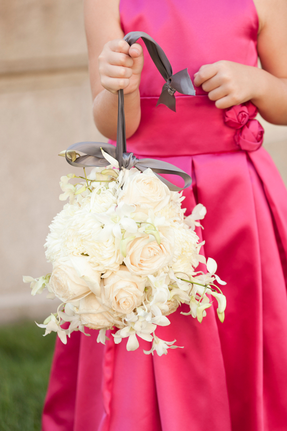 Hot Pink Flowergirl with White Pomander