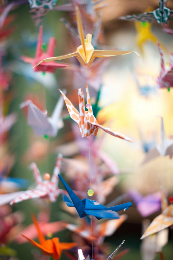 paper crane ceremony decorations Whimsical Movie Theatre Wedding by Mustard Seed Photography