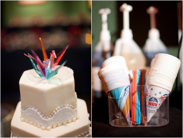 paper crane topper wedding cake Whimsical Movie Theatre Wedding by Mustard Seed Photography