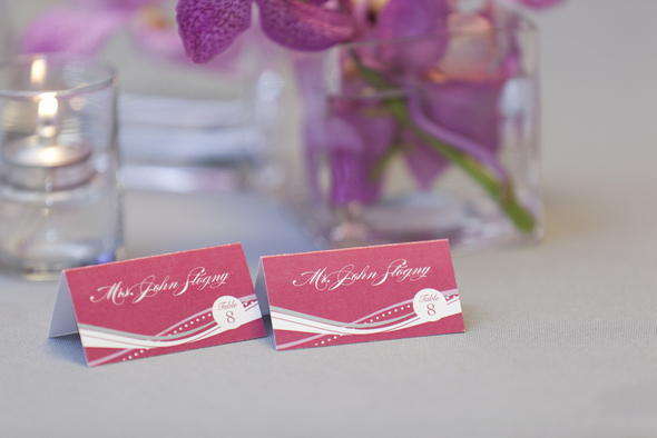 Pink White & Gray Wedding Place Cards