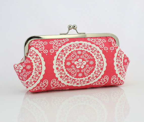 Pink & White Patterned Clutch