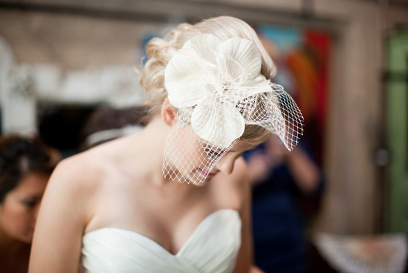 whimsical bride fascinator Whimsical Movie Theatre Wedding by Mustard Seed Photography