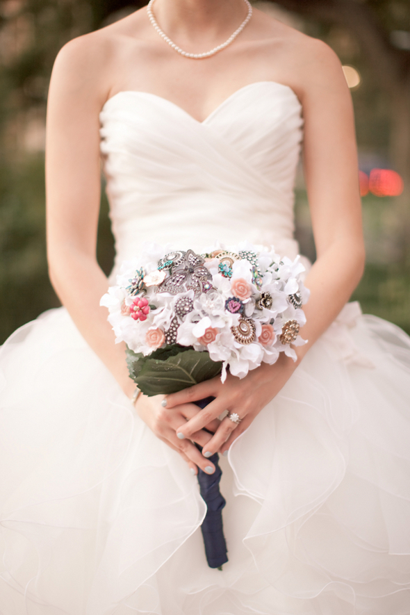 whimsical brooch wedding bouquet Whimsical Movie Theatre Wedding by Mustard Seed Photography