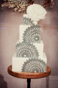 White and Grey Lace Wedding Cake