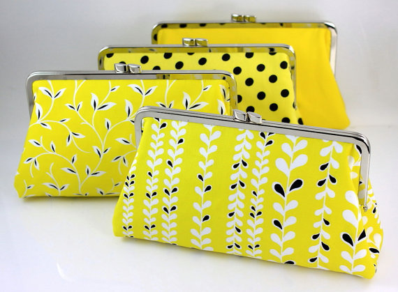 Yellow Bridesmaid Clutch Set
