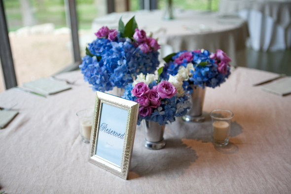 Blue Hydrangeas & Pink Roses Centrepieces